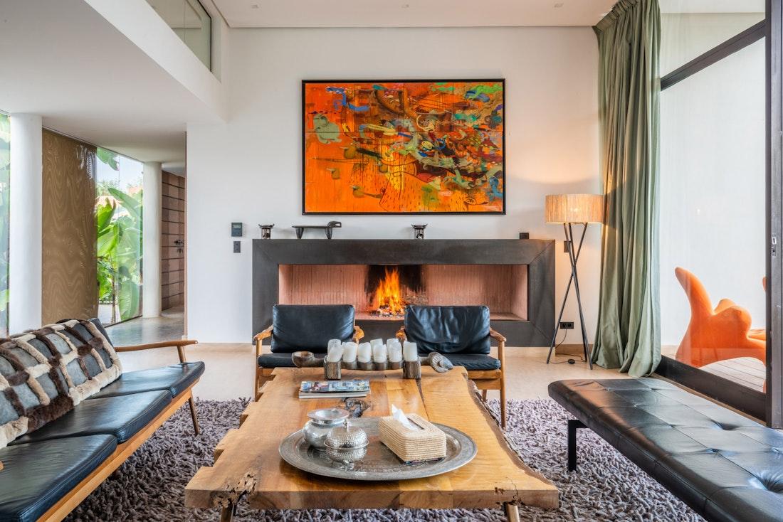 Lounge room with views over the garden of Zagora private villa in Marrakech