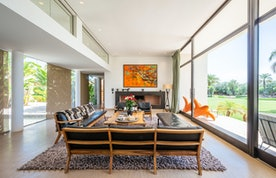 Ethnic living room with large windows at Zagora private villa in Marrakech