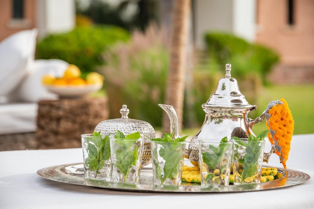 Traditional moroccan mint tea served at Zagora private villa in Marrakech