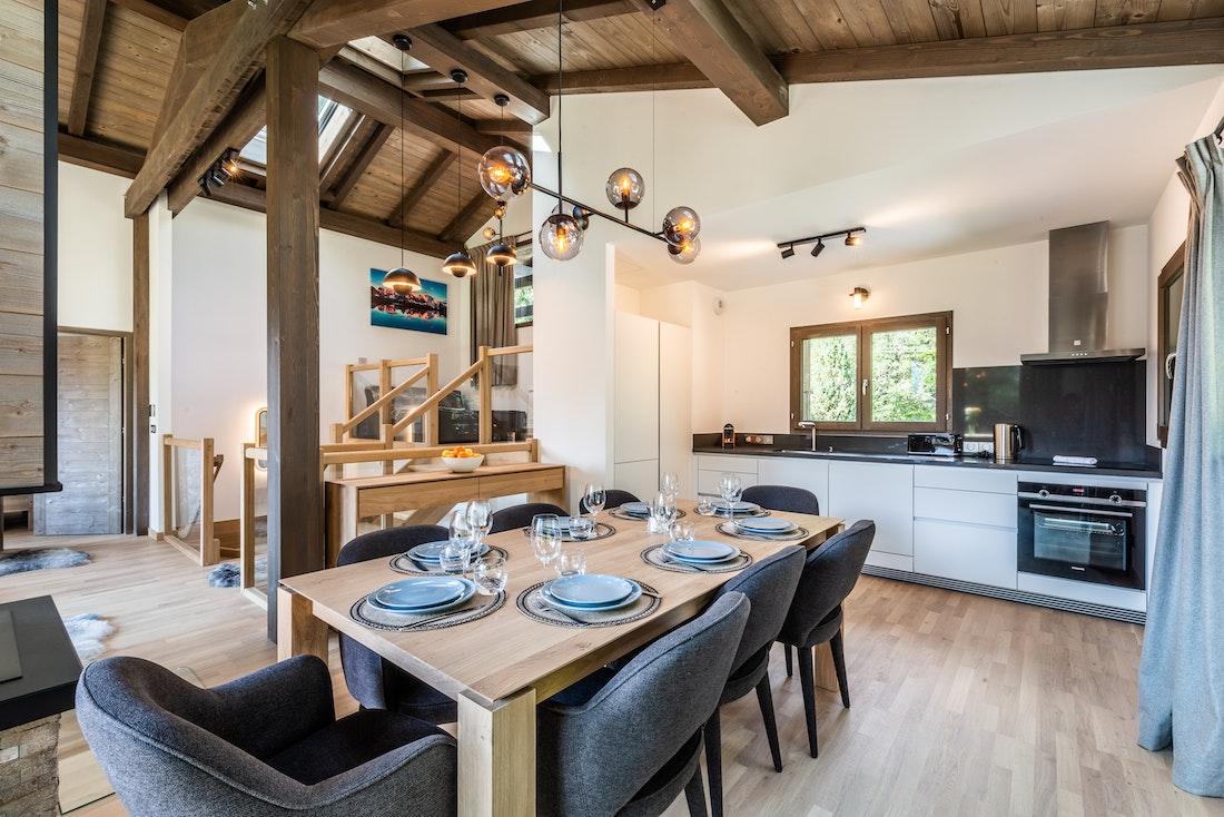 Beautiful open plan dining room kitchen family chalet Jatoba Chamonix
