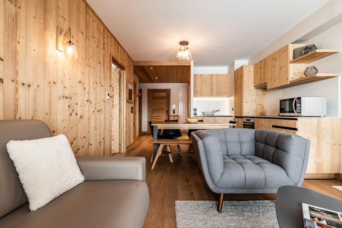 Modern living room luxury ski in ski out apartment Thuja Alpe d'Huez