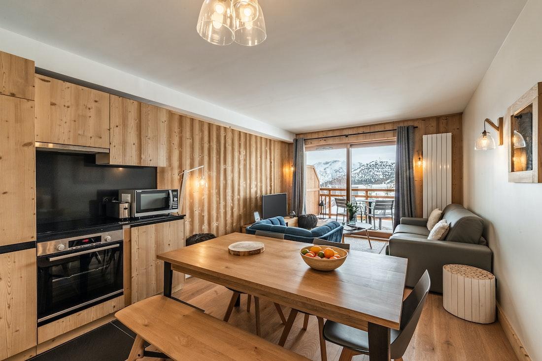 Modern living room luxury ski in ski out apartment Juglans Alpe d'Huez