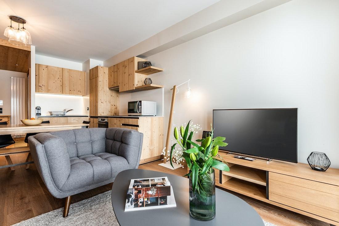 Design living room view mountain luxury ski in ski out apartment Thuja Alpe d'Huez