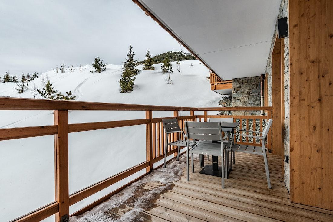 Alpine views spacious terrace luxury ski in ski out apartment Sorbus Alpe d'Huez