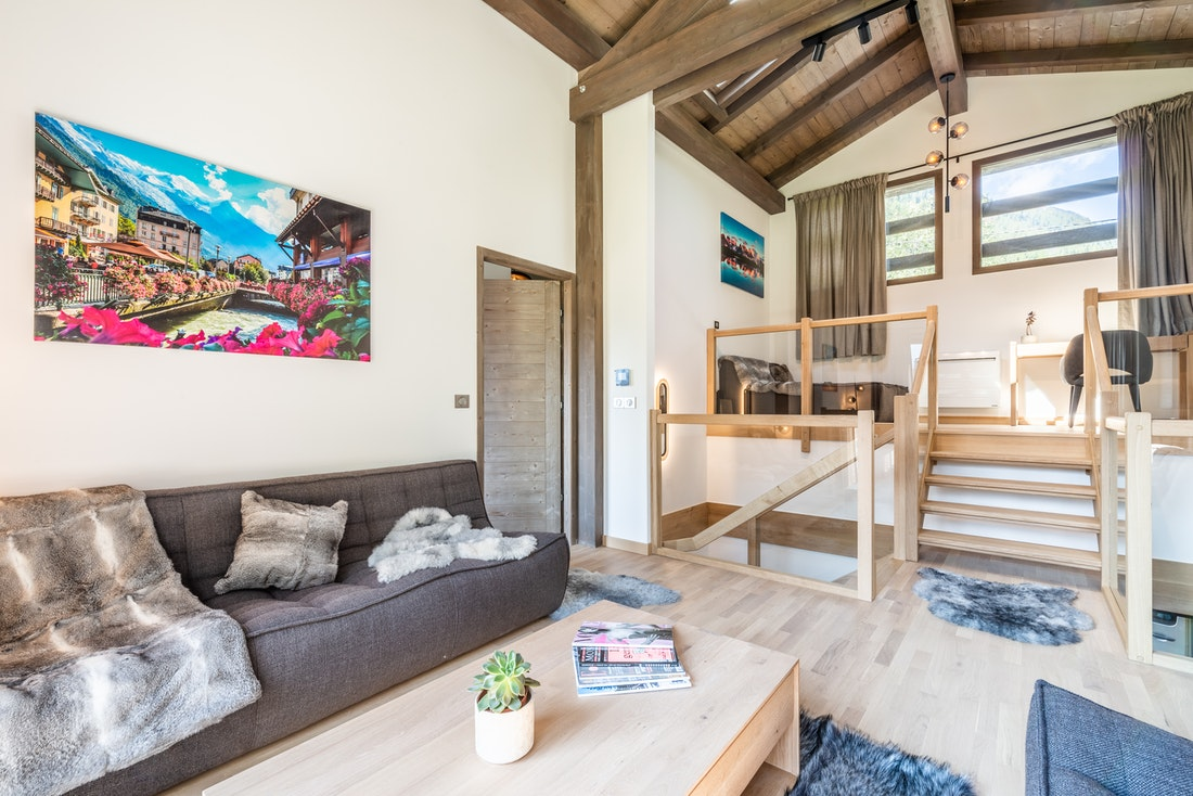 Spacious living room cinema room luxury family chalet Jatoba Chamonix