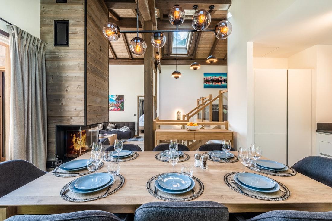 Stunning open plan dining room family chalet Jatoba Chamonix