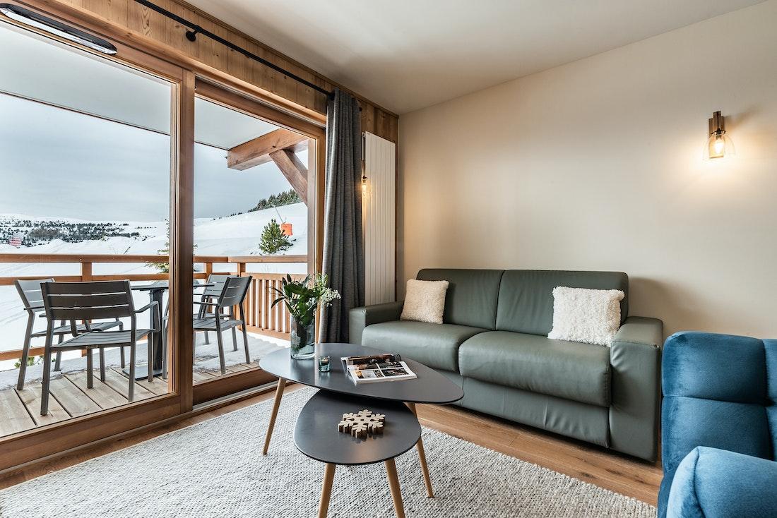 Luxurious living room luxury ski in ski out apartment Juglans Alpe d'Huez