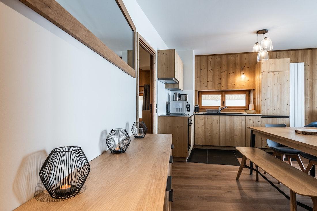 Spacious dining room kitchen luxury ski in ski out apartment Sorbus Alpe d'Huez