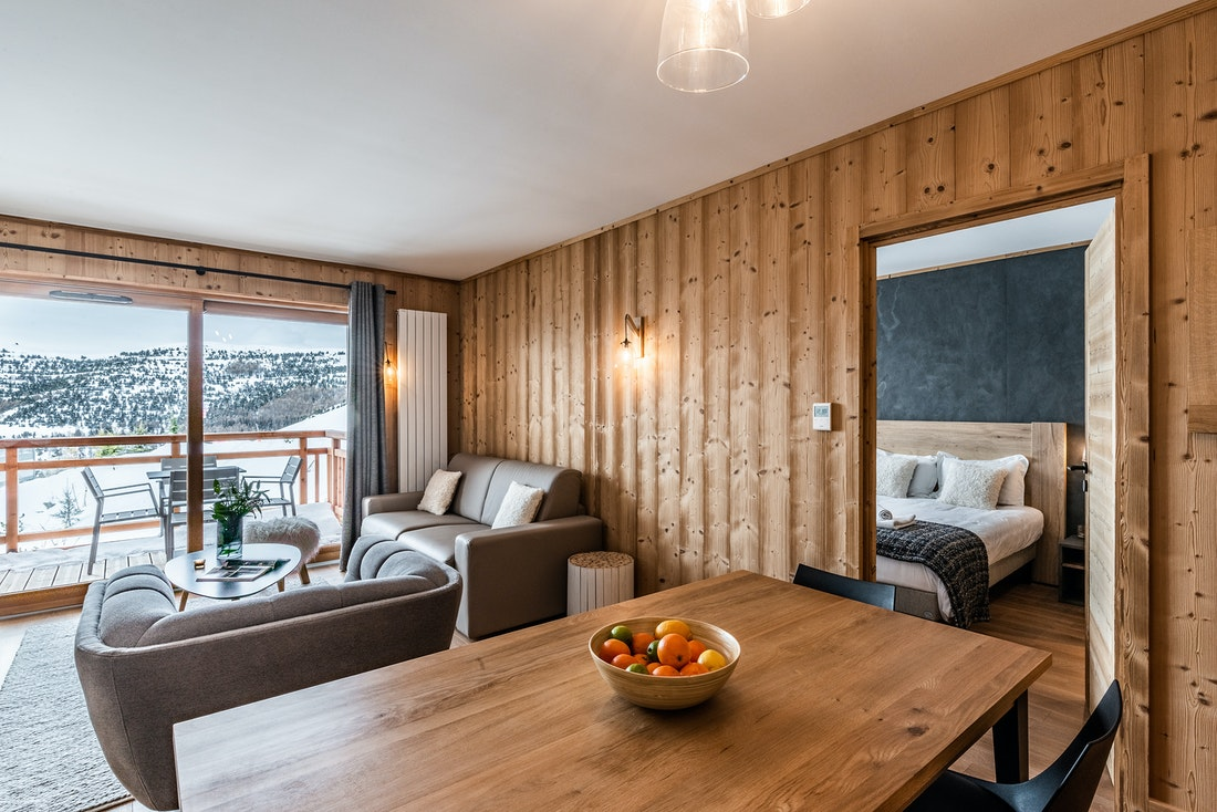 Luxurious living room luxury ski in ski out apartment Thuja Alpe d'Huez