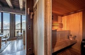 Sauna privé pierres chaudes appartement Tiama Courchevel 1850