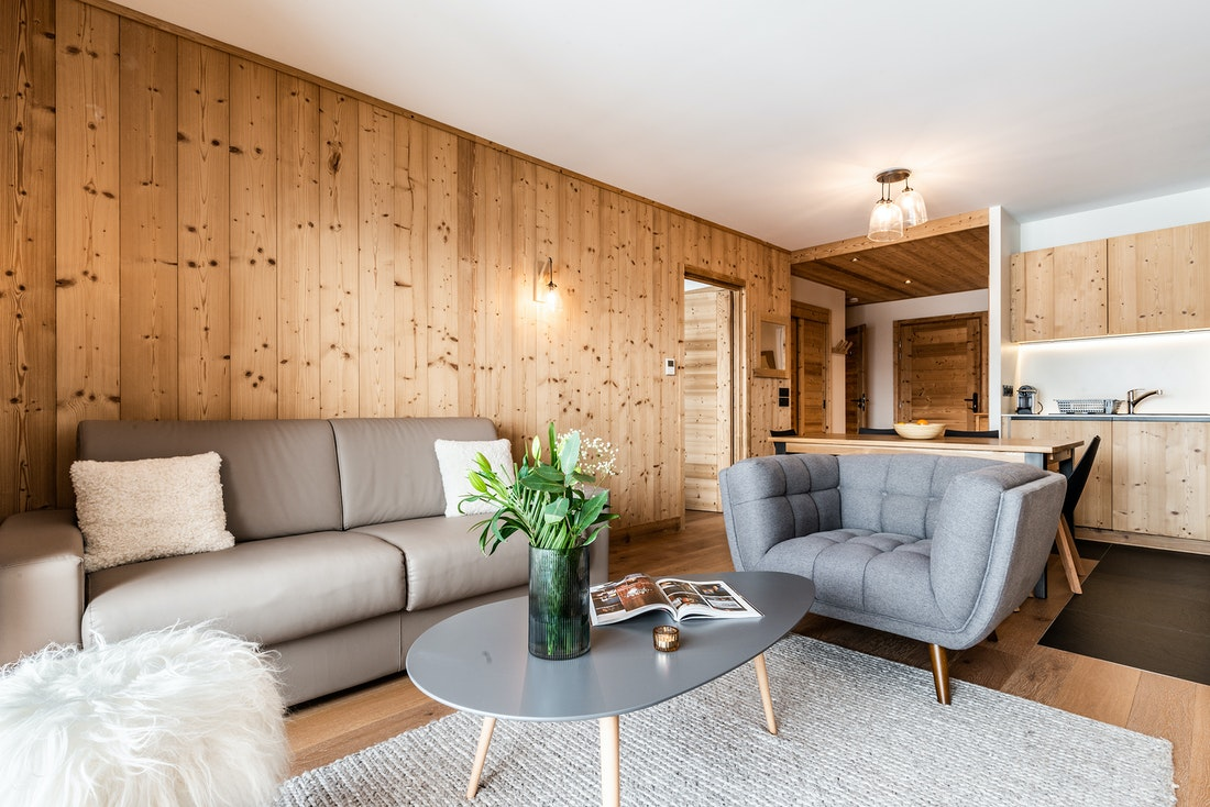 Contemporary living room light luxury ski in ski out apartment Thuja Alpe d'Huez