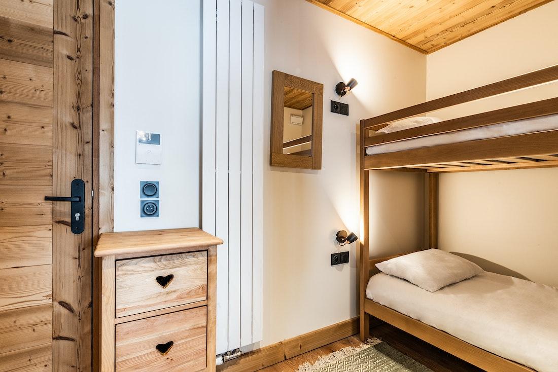 Alpine kids room bunk beds ski in ski out apartment Thuja Alpe d'Huez