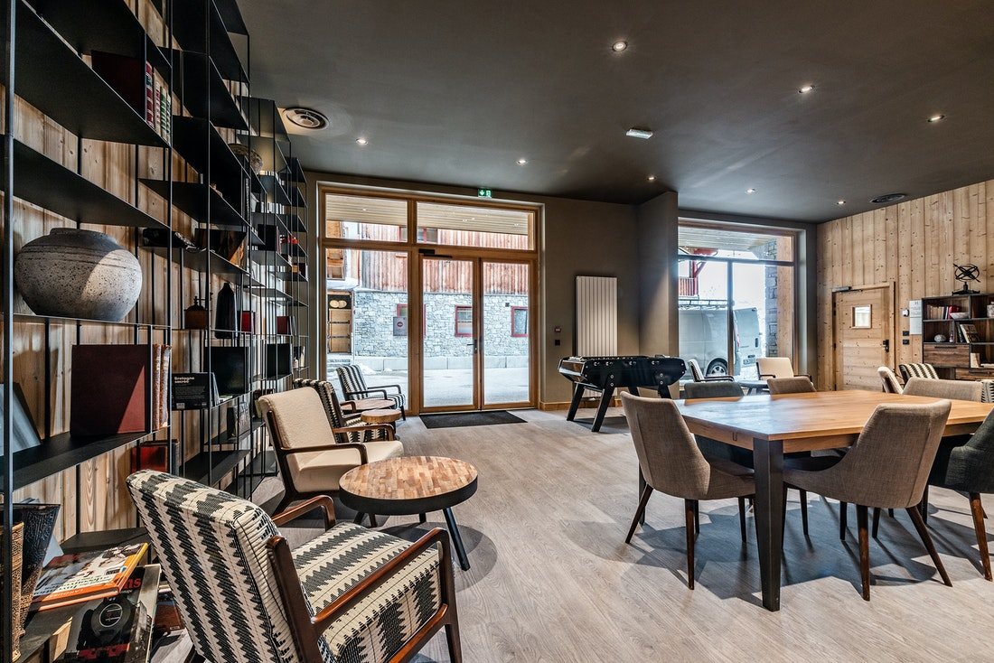 Communal lounge table soccer luxurious residence apartment Juglans Alpe d'Huez