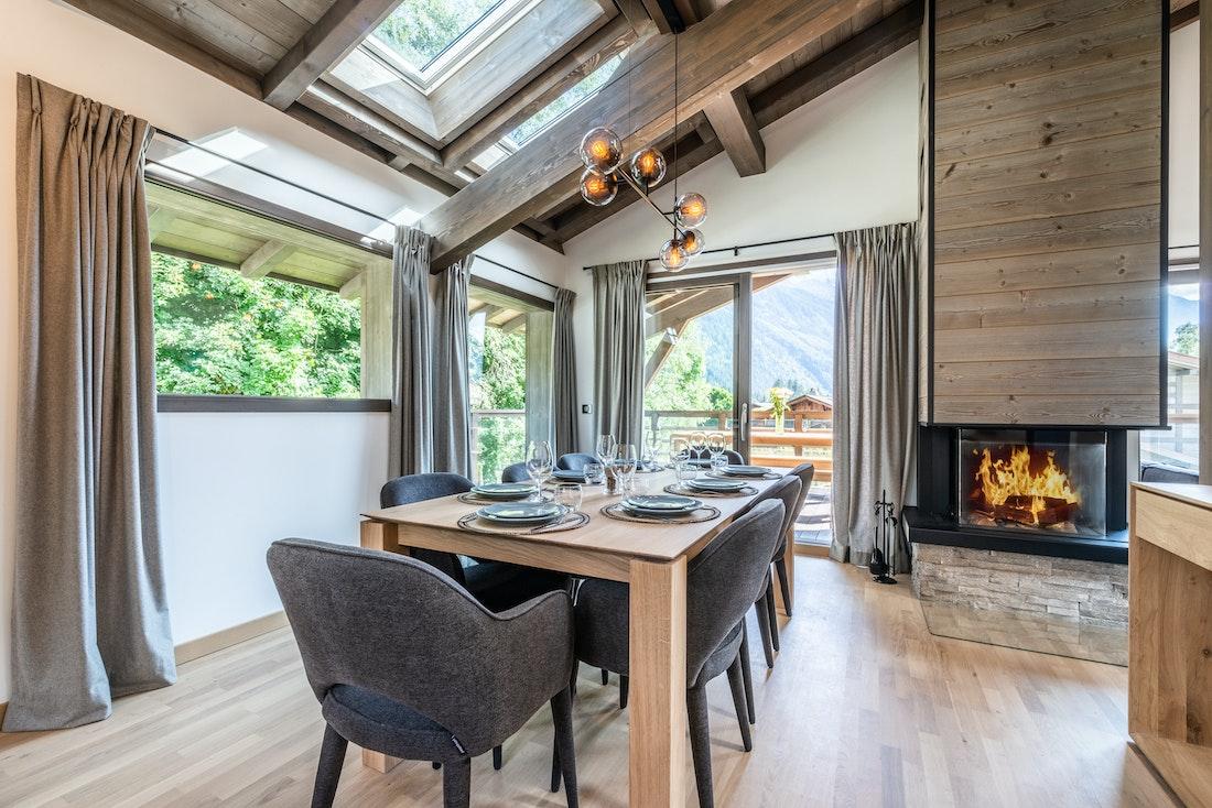 Beautiful open plan dining room family chalet Jatoba Chamonix