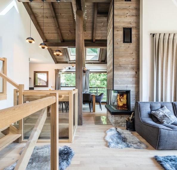 Alpine living room fireplace luxury family chalet Jatoba Chamonix