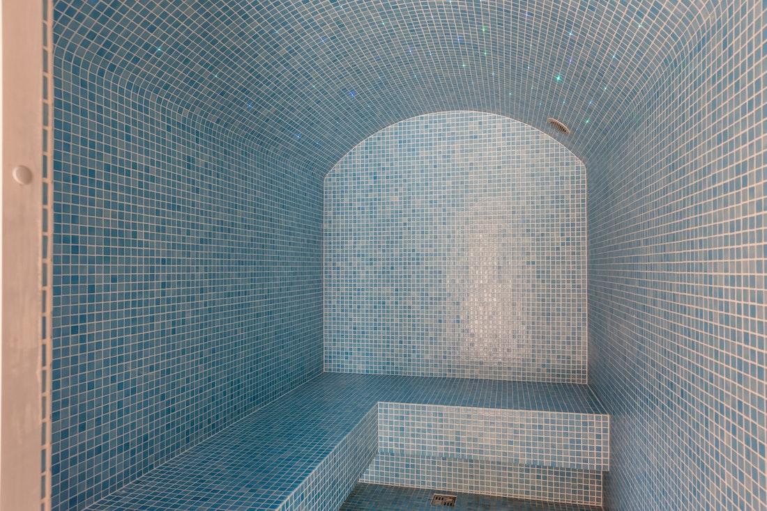 Light blue hammam at Le Rouge luxury chalet in Morzine