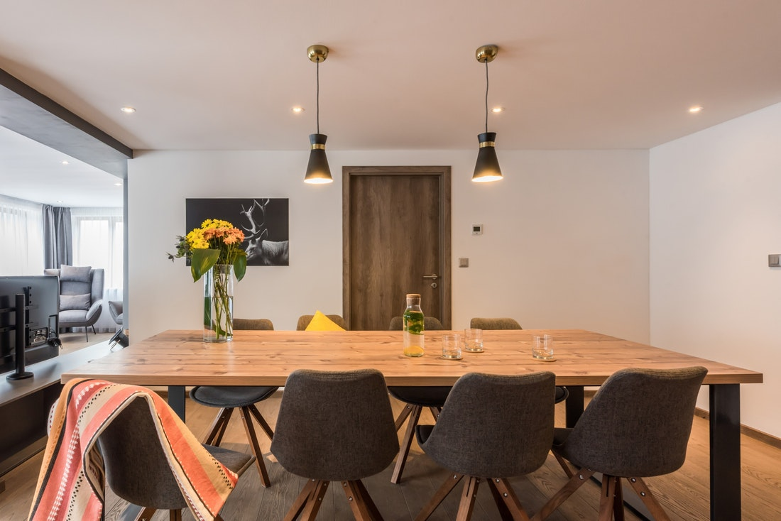 Wooden dining room at Ayan accommodation in Morzine