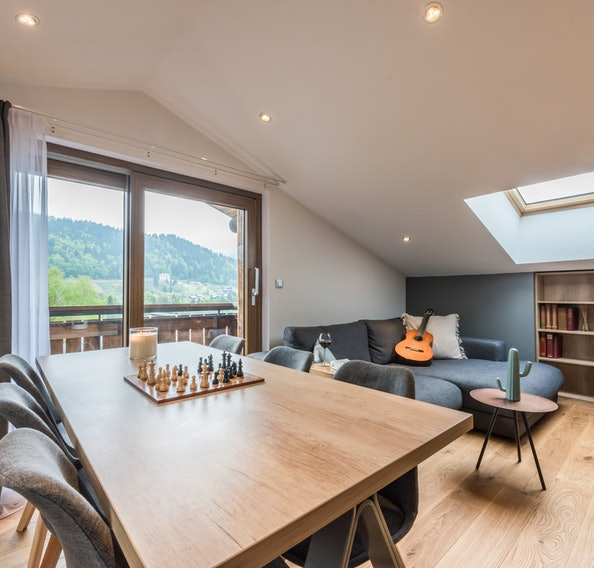 Alpine living room luxury alps apartment Takian Morzine