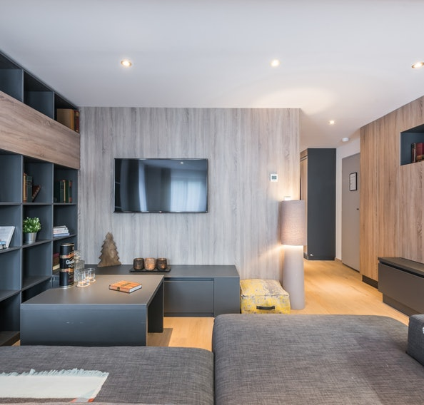 Modern living room of Lovoa accommodation in Morzine