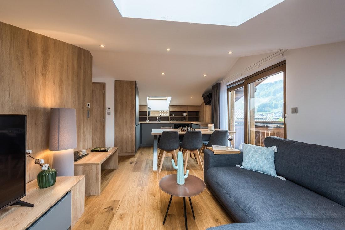 Contemporary living room luxury family apartment Takian Morzine