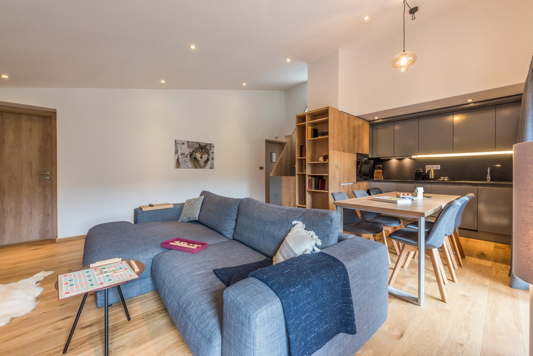 Cosy living room at Agba accommodation in Morzine