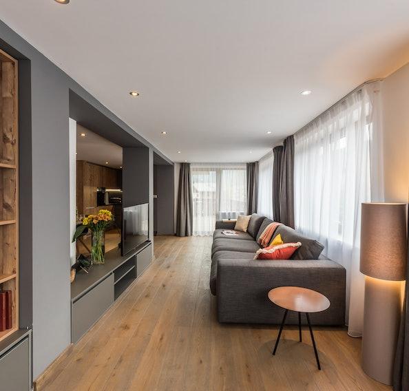 Spacious living room luxury ski apartment Ayan Morzine