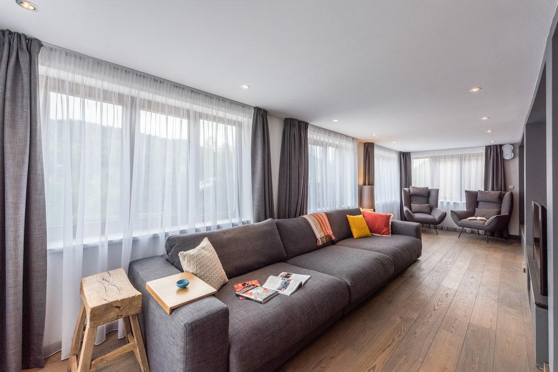 Cosy living room luxury ski apartment Ayan Morzine