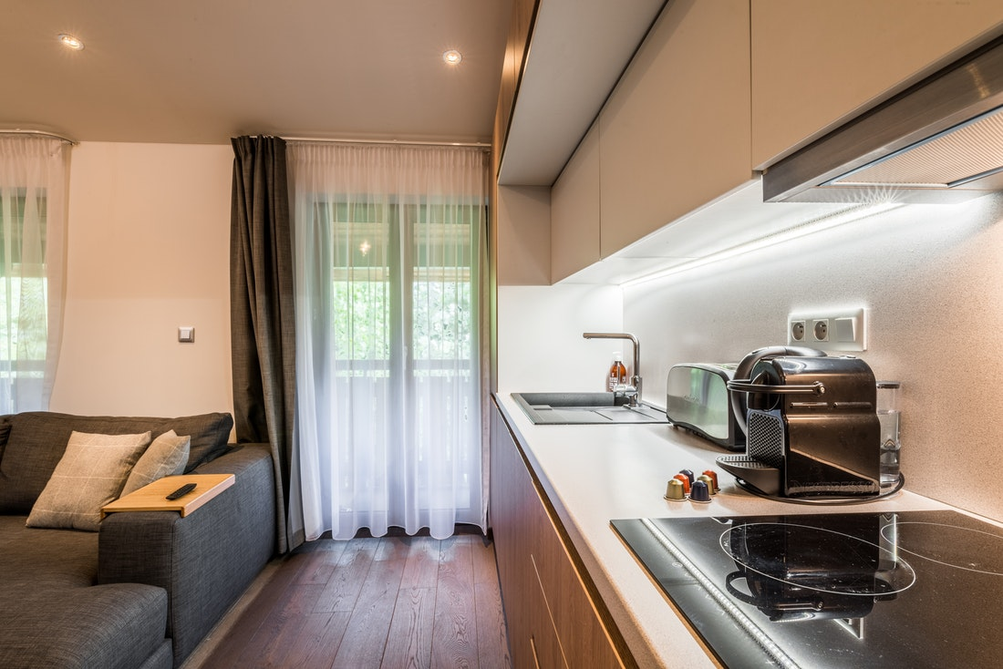 Fully-equipped kitchen at Kauri accommodation in Morzine