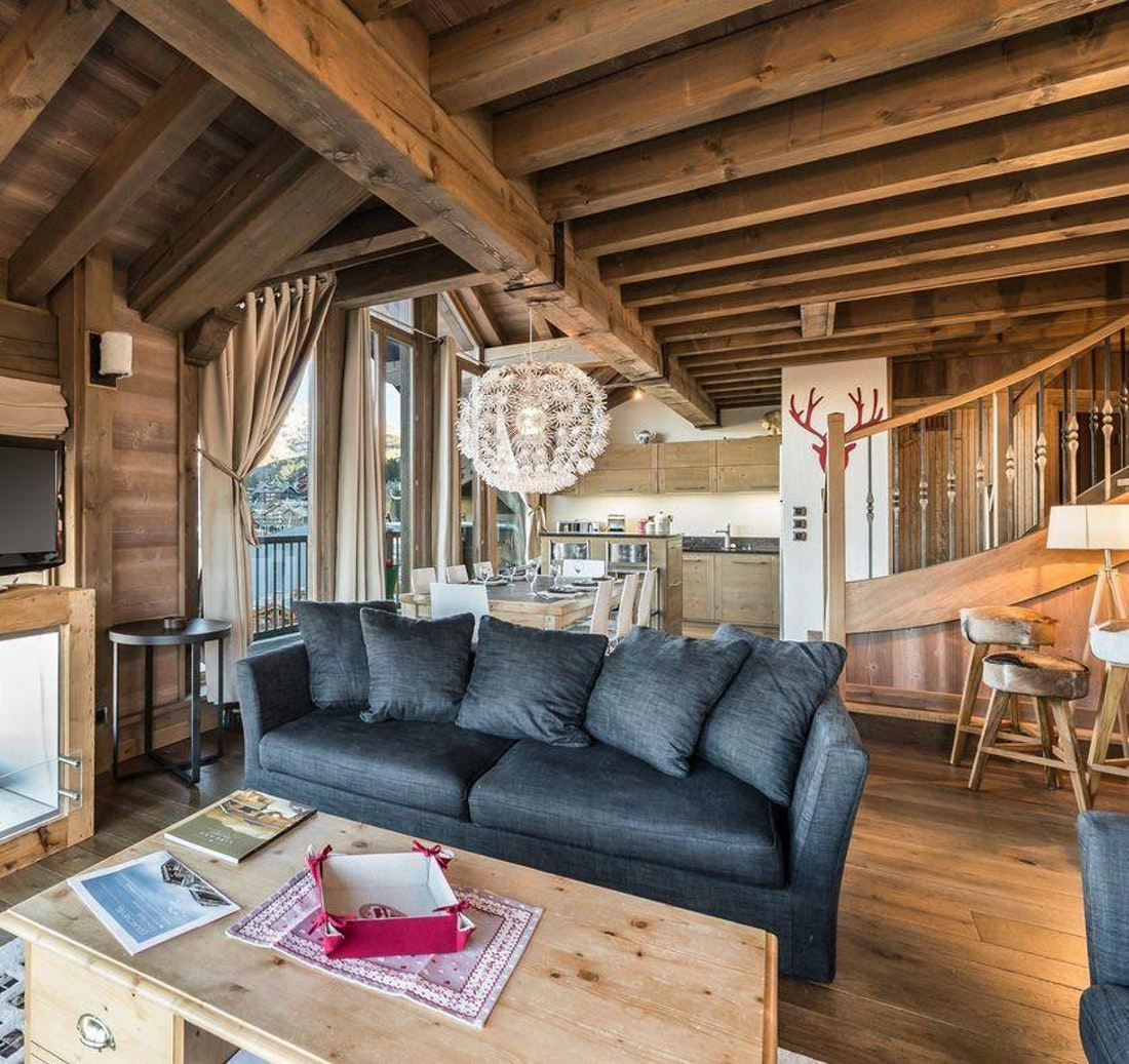 Alpine living room luxury family apartment Tiama Courchevel 1850